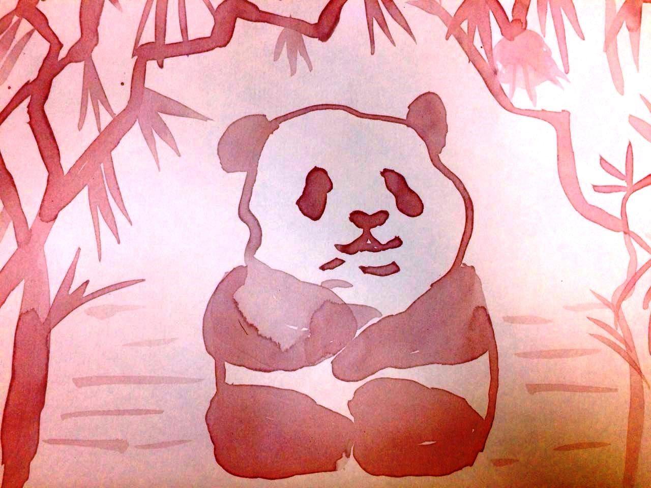 панда, нарисованная вином