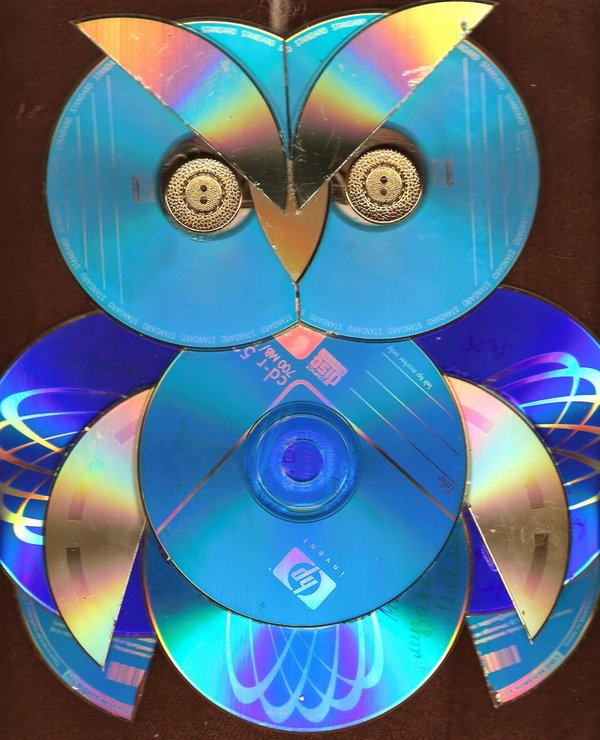 Сова из CD дисков