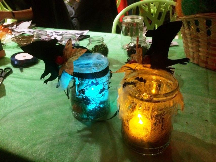 Светильники из банок хэллоуин